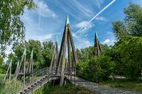 architectual striking wooden pedestrian bridge