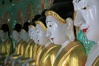 Buddha statues in the Umin Thounzeh Temple in Sagaing