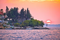 Korcula coastline colorful sunset view