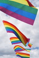 rainbow flags at gay pride event