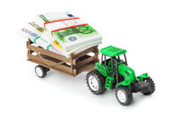Toy tractor with money