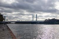 View at Dutch Galecopper bridge over Amsterdam-Rijn canal near Utrecht