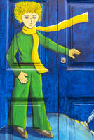 blond boy with yellow scarf, painted front door, Funchal, Madeira, Portugal, Europe