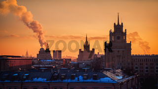Moscow, Russia Sunset Orange Sky Calm Winter Landscape Towers Old Architecture Travel Location Smoke Stack European