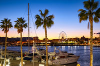 Malaga port and Ferris wheel