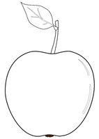 The outlines of an apple with a leaf