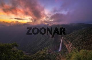 Nohkalikai falls at sunset, Meghalaya, India