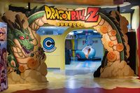 TOKYO, JAPAN - 23 FEB 2018: Shenlong, saiyan spaceship and Dragon Ball Z logo arch on J-World theme park in Toshima district