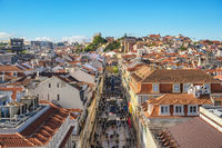 Lisbon Portugal aerial view city skyline at Augusta street