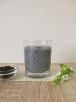 Gel drink in glass from soaked superfood basil seeds and water