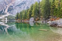 Still water and reflection on Lake Braies