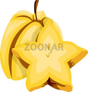 Vector illustration of a yellow starfruit half a starfruit cut in half white background.