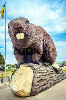 Mascot Bieber statue in Beaverlodge Alberta Canada
