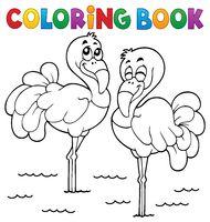 Coloring book flamingo theme 1