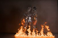 Couple in mirror costumes in open fire shot