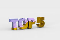 Top five on white background (done in 3d)