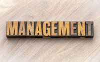 management - word asbtract in wood type