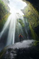 Perfect view of famous powerful Gljufrabui waterfall