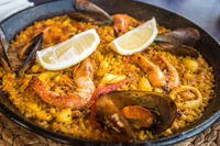 Seafood paella, traditional spanish dish