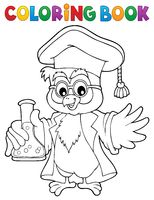 Coloring book chemistry owl teacher 1