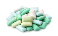 Various mint chewing gum pieces