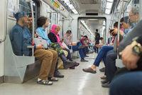 Passenger inside metro train. Tehran