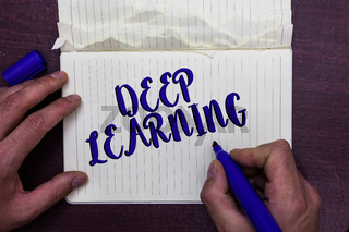 Writing note showing Deep Learning. Business photo showcasing Hierarchical Abstractions Artificial Intelligence Algorithm Man holding marker notebook page crumpled paper several tries mistakes.