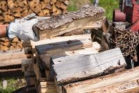 Split firewood is stored as a stock - logs
