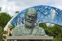 Bronze bust of Charles Darwin, Santa Cruz Island, Galapagos Islands, Ecuador