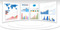 Business charts and infographics - 3d rendering