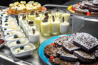Selection of desserts at a dessert and cake buffet