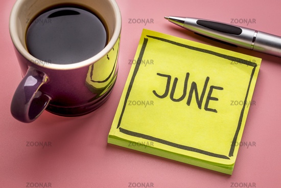June text on sticky note with coffee