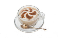 Cappuccino coffee with pattern of cinnamon isolated on white background. Coffee with milk. . Coffee beans