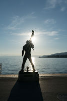 Montreux, VD / Switzerland - 31 May 2019: the Freddie Mercury Memorial Statue on the shores of Lake Geneva in Montreux at sunset