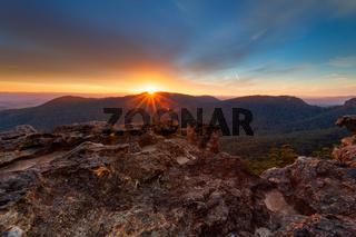 Sunset over the Blue Mountains escarpment ranges