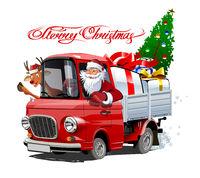 Christmas card with cartoon retro Christmas truck