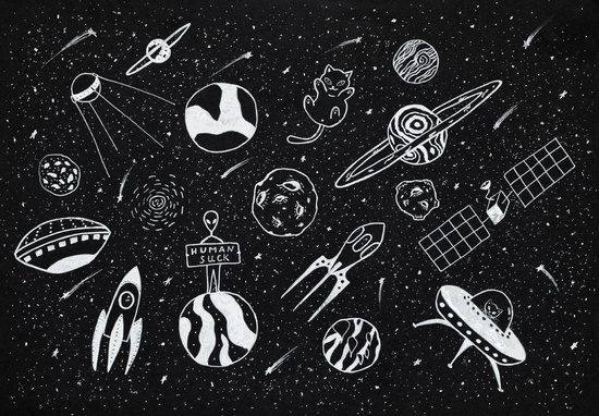 Hand drawn cartoons collection of outer space objects set design over black background