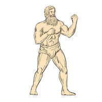 Hercules In Boxer Fighting Stance Drawing Color