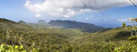 Mauritius. Highland panorama with rainforest and sky in the clouds
