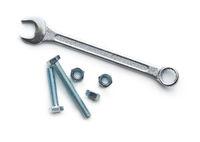 Chrome vanadium wrench and bolts.