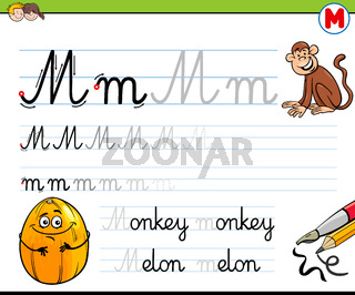 how to write letter M workbook for children