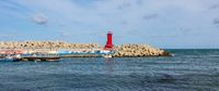 Harbour Bay with Lighthouse of Cape Ganjeolgot and Breakwater. Easternmost Point of Peninsula in Ulsan, South Korea. Asia