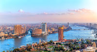 Cairo downtown, view of the Nile, the skyscrappers and the bridges, Egypt