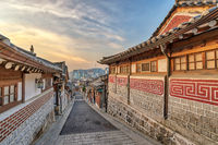 Seoul South Korea, sunrise city skyline at Bukchon Hanok Village