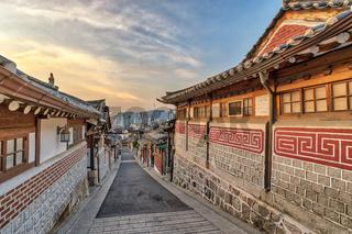 Seoul South Korea, sunrise city skyline at Bukchon Hanok Village