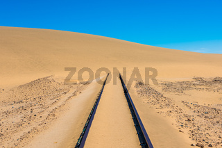 Railway tracks after sand storm, Namibia