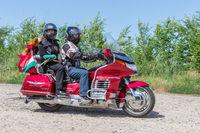 Motor bikers Honda Goldwing making a drive through Hungary