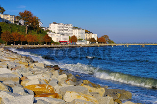 Sassnitz Seebruecke und Hotel - Sassnitz pier and hotels, island Ruegen