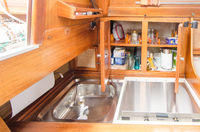 Kitchen of a sailing boat.