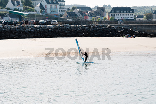 Windsurfer in the beach of Morgat, France